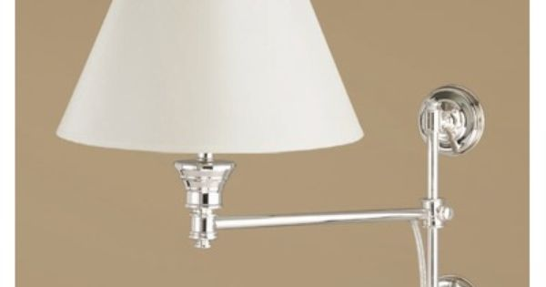 Laura Ashley Lighting State Street Adjustable Wall Sconce with Classic Shade in Shiny Silver ...