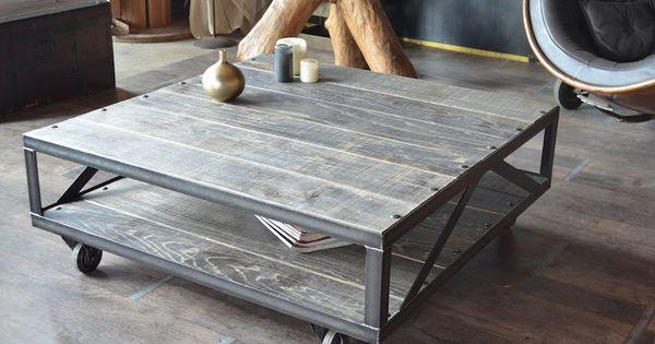 Table basse industrielle bois gris et acier bross for Table basse acier brosse