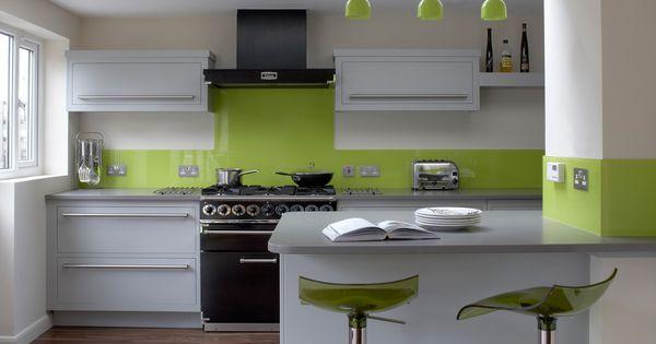 amusing colorful kitchen backsplash | Modern Kitchen In Green Color Inspirations : Amusing White ...