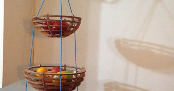 Wooden Three Tiered Hanging Fruit Basket By