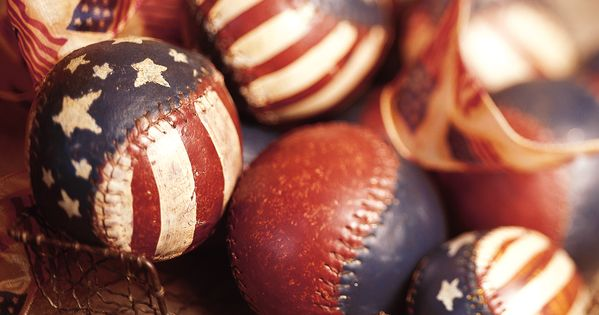 Paint old softballs/baseballs - cute center pieces for 4th of July! Such