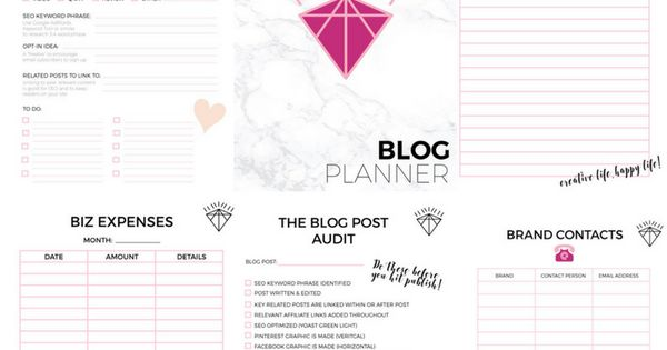 Printable Blog Planner More