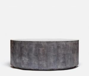 Cara Oval Coffee Table Cool Gray Faux Shagreen Oval Coffee