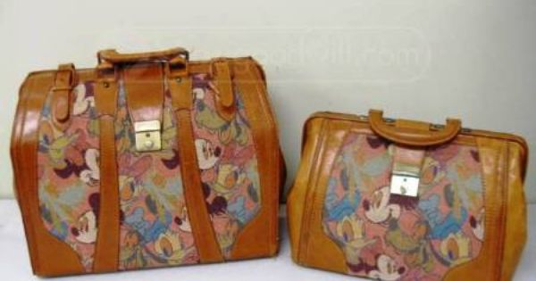Vintage Disney Mickey Amp Co Leather Luggage Bags Travel