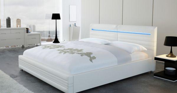lit reflexion 140x200 cm simili blanc avec leds son. Black Bedroom Furniture Sets. Home Design Ideas