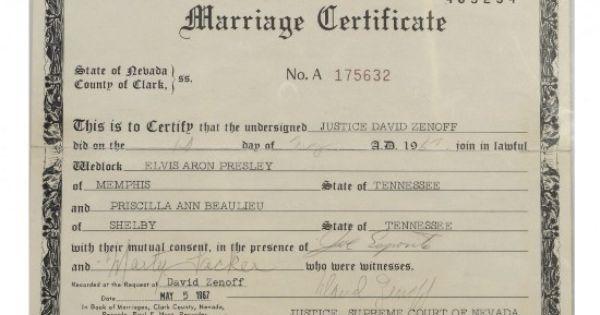 Elvis Presley's Marriage Certificate Among Lots In