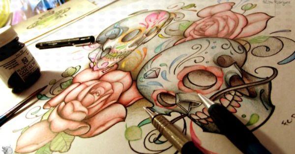 Sugar Skull Sketches | Sugar skull tattoo drawing | Inked (: