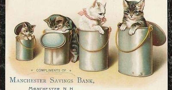 Over 110 Year Old Vintage Antique Paper Treasure Offered For Sale Is A Medium Large Sized Victorian Chromolithogr Vintage Artwork Antique Postcard Vintage Cat