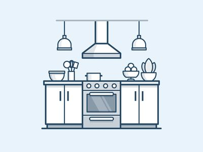 Kitchen Icon Work Kitchen Icon Flat Design Illustration