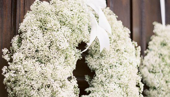 Babies breath wreath for the door for the wedding