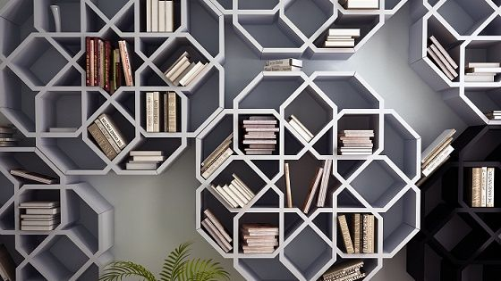 Bookshelves inspired by Moroccan mosaics / Younes Duret. Relatively easy to get