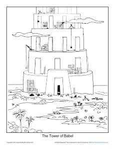 The Tower Of Babel Coloring Page Printable Sheet Tower Of Babel