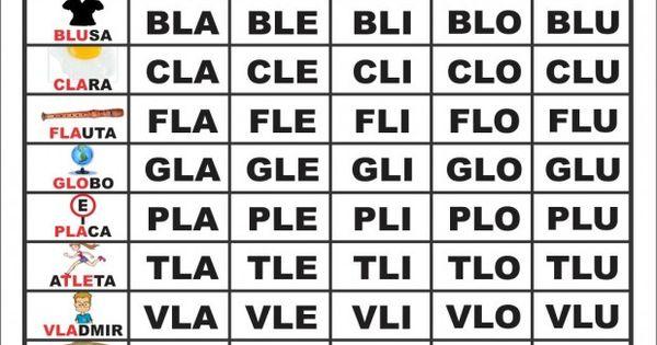 Resultado de imagem para SÍLABAS COMPLEXAS BL CL FL GL PL TL