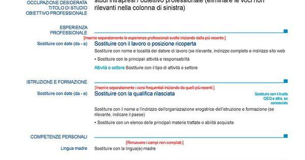 Cv En Italien Gratuit A Telecharger Modeles De Cv Europass Modello Cv Immagini Parole Curriculum Vitae