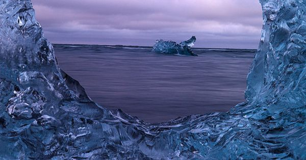 Visual reference: ice is blue. Window of ice, Jokulsarlon Glacial Lagoon, Iceland.