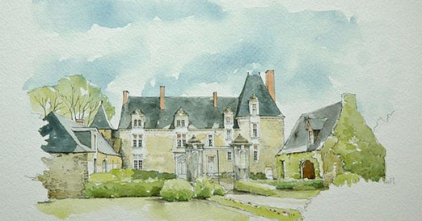 Mortreux Mayenne France Watercolor Architecture Watercolor
