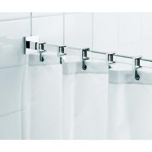 Croydex Square 98 4 In L Luxury Shower Curtain Rod With Curtain