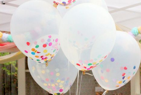 Birthday Party Idea: Fill Clear Balloons With Colorful Confetti