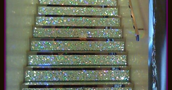 In what place would these awesome stairs be commonplace? Swarovski Crystal Staircase