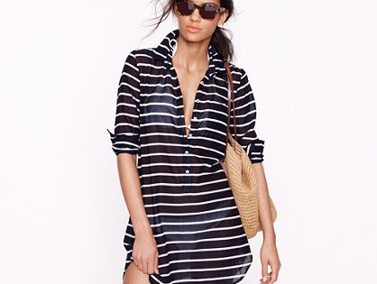 Swimsuit / Beach cover up | navy stripe swim cover up