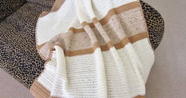 Crochet Afghan Lap Blanket, Striped Throw, Earth Tones ...
