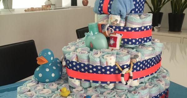 Homemade diaper cake boat shape baby shower, gâteau de ...