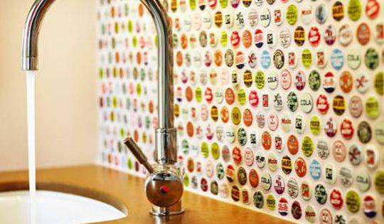Beer bottle cap backsplash.. basement bar area?