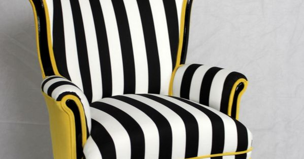 sold can replicate black and white striped vintage round wing back chair with yellow velvet design furniture ideas and furniture - Black And White Striped Chair