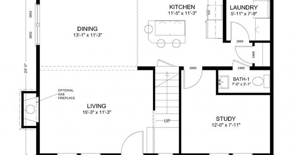 House plans 24 x 32 humble home design pinterest for Colonial floor plans open concept