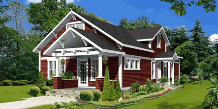 Open gable on porch roof bungalow style no step entry for Prefab craftsman bungalow
