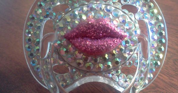 BABY BLING~ BLINKY'S lip decal rhinestone pacifier with by BorntoBlingBoutique