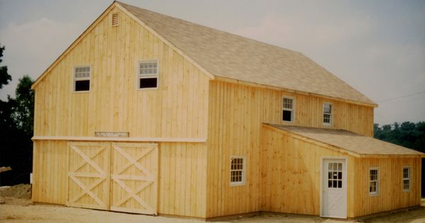 28 X 40 Two Story Pole Barn With 12 X 20 Shed Roof