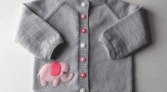Pink Elephant Sweater Silver Grey Baby Girl Jacket By Tuttolv Ocuk Rg Ler Pinterest