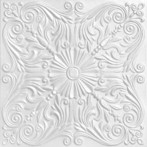 A La Maison Ceilings Spanish Silver 1 6 Ft X 1 6 Ft Glue Up Foam Ceiling Tile In Plain White 21 6 Sq Ft Case R139pw 8 The Home Depot Faux Tin Ceiling Styrofoam Ceiling
