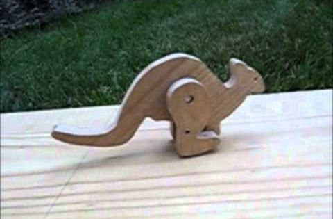 Wood Hopping Kangaroo Toy Wooden Toys Tricks