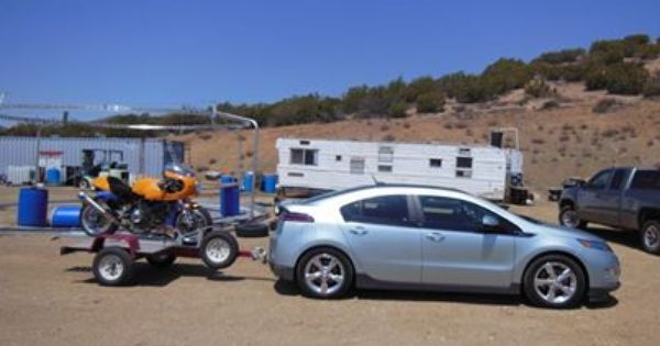 Chevrolet Volt Hauling A Ducati Motorcycle With Ecohitch Chevrolet Volt Ducati Motorcycles Trailer Hitch