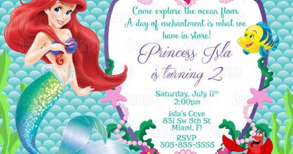 printable princess ariel the little mermaid birthday party
