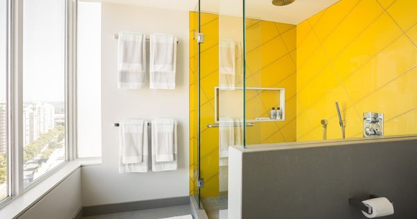 a new way with tile in bathroom shower large scale yellow tiles laid diagonally ...