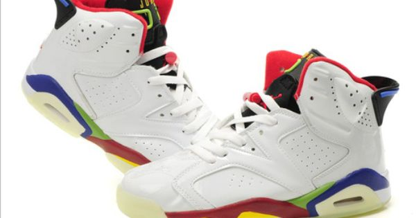 Buy Air Jordan 6 White Colorful Bottom Shoes Online