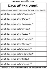 Days Of Week Before After Wksht First Grade Worksheets 1st