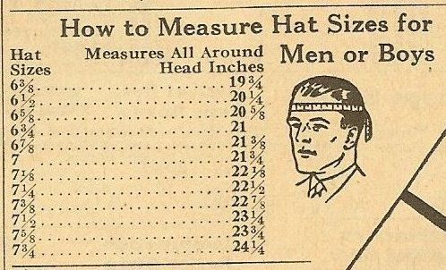 1929 Hat Sizing Chart For Men Or Boys Cowboy Hats Cowboy Hat Bands Cowboy Hat Styles