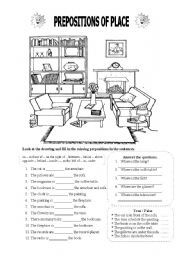 English worksheet: Prepositions of Place | English ...