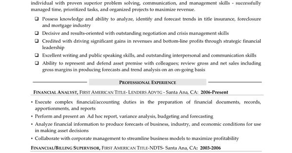 financial analyst resume sample entry level financial