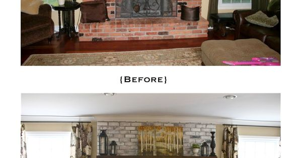 white washed brick fireplace tutorial, via The Yellow Cape Cod. I need