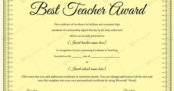 Best teacher award certificate template sample award bestteacher best teacher award certificate template sample award bestteacher teacher bestaward awardcertificate sohail abbas pinterest yelopaper Images