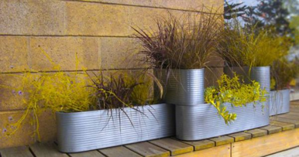 Garden Image: Modern Steel Planters, beach house landscaping ideas ...