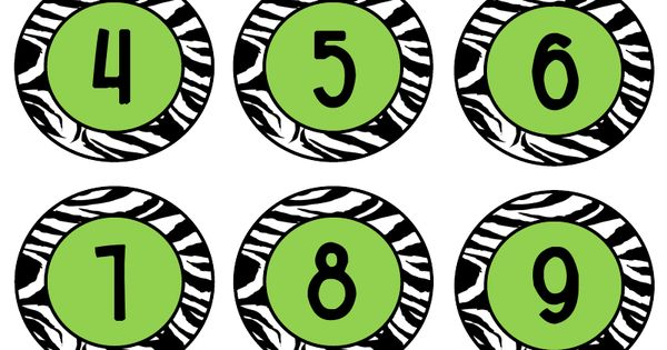 Zebra Print Numbers and name tags ~ printable