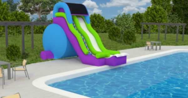Feel Like Your At A Water Park With This Pool Side Slide This New And Exciting Big Summer Splash Is A Inground Pool Slides Summer Pool Floats Inflatable Pool