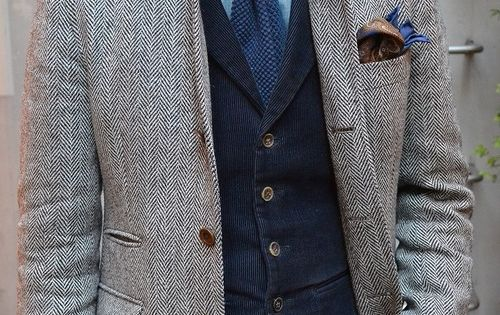 Tweed Jacket + Corduroy vest + knit tie + pocket square -