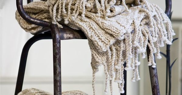 oatmeal cable knit throw with fringe